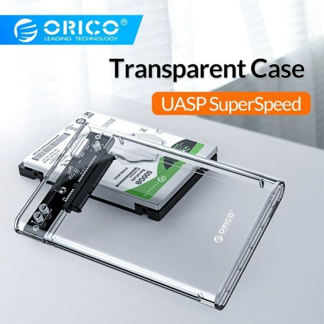 2.5 inch Transparent USB3.0 HDD Case Tool Free UASP Hard Drive Enclosure