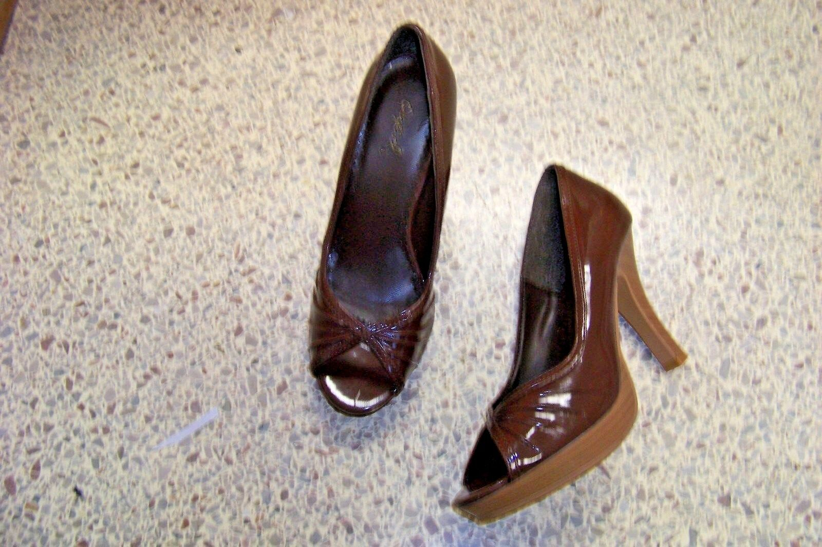 qupid brown patent open size toe heels shoes size open 7 94d64e