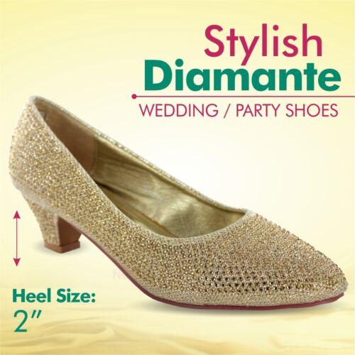 LADIES DIAMANTE PARTY WEDDING SHOES BRIDESMAID FOOTWEAR SIZE 3-8