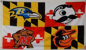 Baltimore-Ravens-Baltimore-Orioles-Natty-Boh-Maryland-Terrapins-Flag-US-shipper