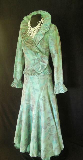 PAULE VASSEUR Size 42 12 14 Turquosie Blue & Lilac Ladys Designer Wedding Outfit