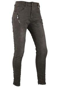Lexxury-Damen-Jeans-Hose-Baggy-Boyfriend-Braun-Grau-Zipper-Stretch