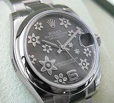 Rolex DATEJUST 178240 Midsize 31MM Stainless Steel Rhodium Flower Motif Dial