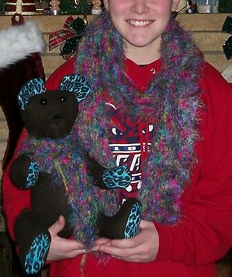 COLOR TEDDY FURRY amp; MULTI SCARF HAND BEAR NEW FOR MADE DOLL OR CROCHET CHILD 1qCpAxwx