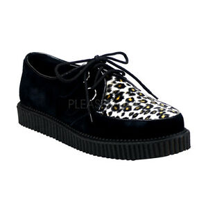 Black Unisex Low 600 Cow Creeper Shoes Demonia Leather Sole Leopard hrdCBstQx