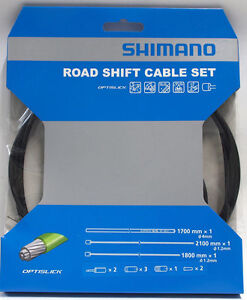 Black Shimano Road Optislick Derailleur Cable and Housing Set