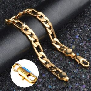 18k-Yellow-Gold-Mens-Womens-Wide-8mm-Figaro-Cuban-Curb-Link-Chain-Bracelet-D698