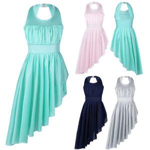 Girls-Ruched-Cutout-Back-with-High-Low-Hem-Leotard-Dress-Lyrical-Dance-Dresses