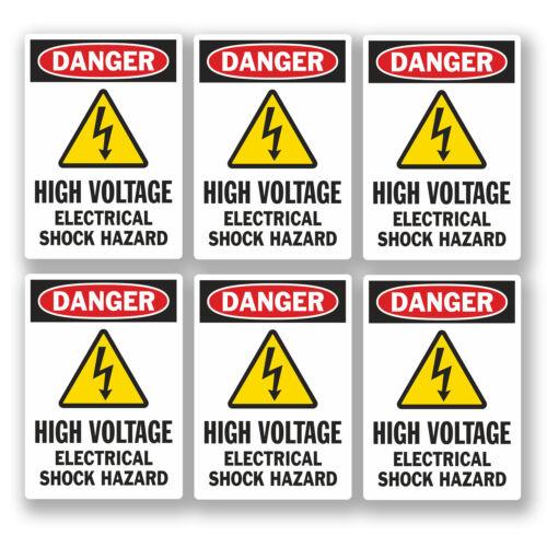 6 x 5 cm petit danger haute tension autocollants health & safety SIGNE électrique # 5466