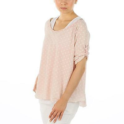 LINDSAY Italy  Damen boxy Cut Punkte Dots 3/4 Arm Shirt & Top 36 38 40 Baumwolle