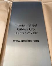 Titanium Sheet 6al 4v 063 X 12 X 36
