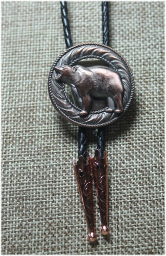 3-D Angry Bear Copper Bolo Tie