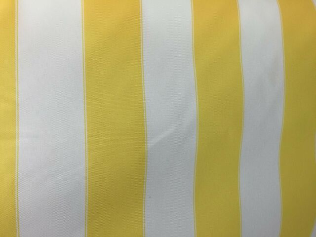 """YELLOW WHITE WATERPROOF OUTDOOR CANVAS FABRIC 60"""" 600 DENIER FABRIC BY THE YARD"""