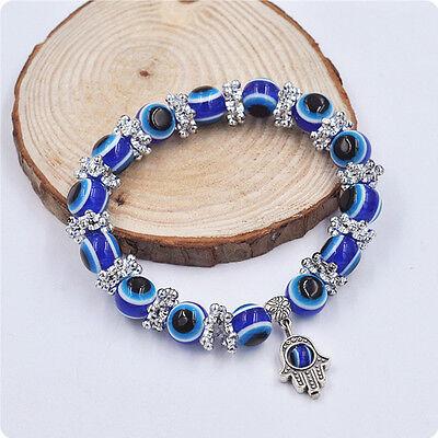 Hamsa Fatima Hand Evil Eye Bracelet Handmade Beads Elastic Band Fashion J NoJTBF