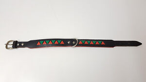 Tolles-Hundehalsband-aus-Leder-schwarz-rot-gruen