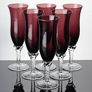 6 Sektgläser burgunder rot violett Champagner Gläser Vintage ~ 60er 70er