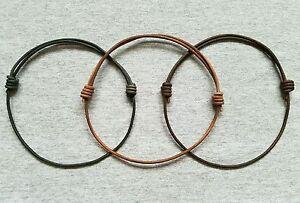 Leather-Cord-Necklace-Adjustable-Antique-Distressed-Brown-Black-Choker-Surfer