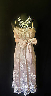 ISPIRATO Dusky Cream Pink Beige Lace Size 8 Ladies Designer Party Wedding Dress
