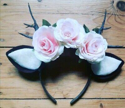 Haarreif braun Hirsch Reh Bambi Geweih mit Blumen Haarreifen selbstgemacht!