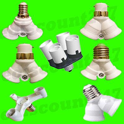 25+ TYPES SPLITTER E40 ES E27 E14 BC B22 GU10 Holder Adaptor Converter UK SELLER