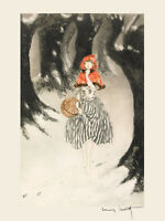 Icart Red Riding Hood Wolf Forest Art Deco Vintage Poster Repro Free Shipping