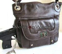 Concealment Purse Brown Leather Locking Concealed Carry Holster Gun Purse 18