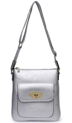 Designer Style Cross Body Bag Messenger Over Shoulder Handbag Turn Twist Lock