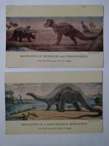 1930s-Dinosaur-Postcard-Pair-CHICAGO-NATURAL-HISTORY-MUSEUM-Unposted