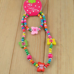 1 Set New Hot Childrens Jewelry Cute Girl ButterFly Wood Bead Necklace Bracelet