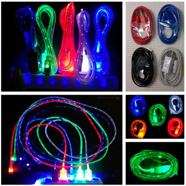 1 Meter LED USB Data Charger Cable Charging Cord for Android Cell Phone Adapter
