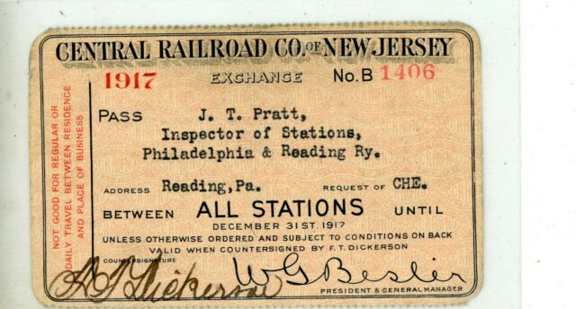 1917 Central Railroad Co of New Jersey Pass