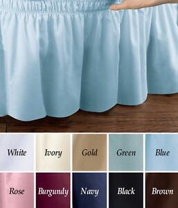 Elastic-Bed-Wrap-Ruffle-Bed-Skirt-Lilac-Light-Blue-Tan-Gold