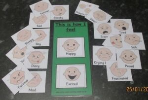 Charmant New! Emotions Flash Cards~pec Cards With Board And Velcro Fitted 6cm X 5cm