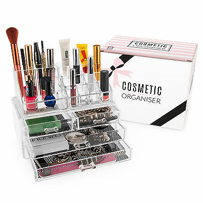 Savisto Clear Cosmetic Makeup Organiser Storage Stand with Jewellery Box Drawers