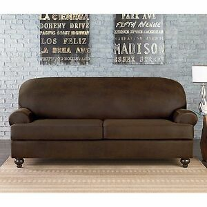 Details about Sure Fit Vintage Faux Leather 2 Cushion Sofa Slipcover t or  box