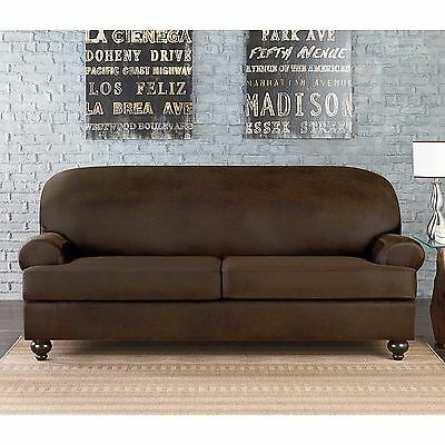 Sure Fit Vintage Faux Leather 2 Cushion Sofa Slipcover t or box | eBay