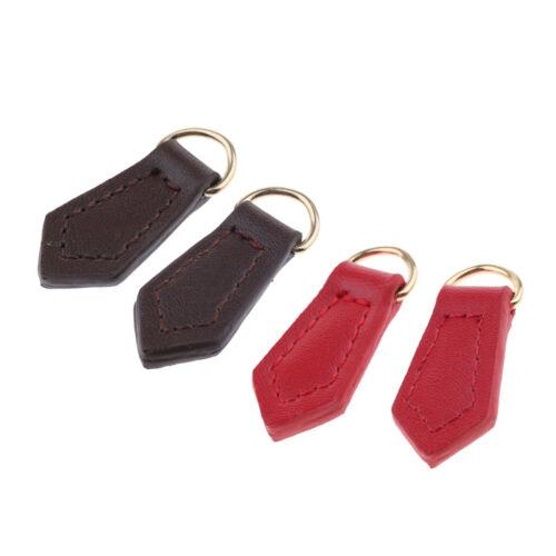 2x Real Leather Zipper Pull Tabs Tags Zip Puller Replacement Handbag Repair