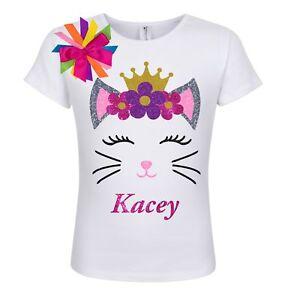 6c20db51f Kid Girls Princess Kitty Cat Shirt Purple Flowers Personalized Name ...