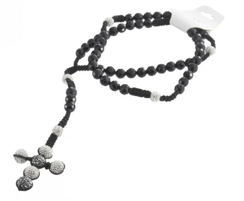 Men's Black & Silver Ball Bead Macrame String Rosary 10mm 24 Inches