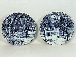 Set-Of-2-Williams-Sonoma-LES-DOMAINES-Blue-White-Dessert-Salad-Plate-Apple-Trees