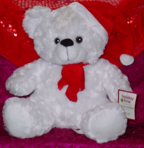 HOLIDAY TIME WHITE BEAR ** RED HAT AND SCARF ** CUTE ** NEW ** 14 INCHES