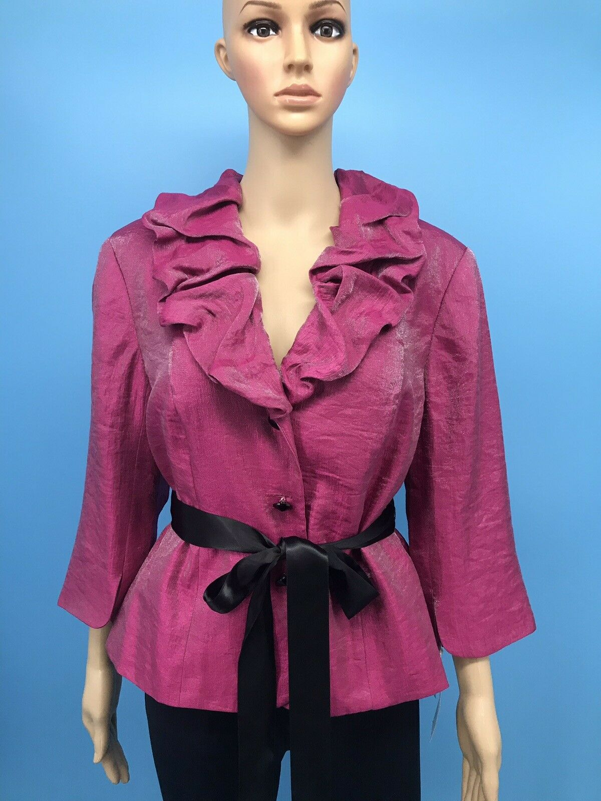 Org. NWT ADRIANNA PAPELL Evening Essential Shiny Pink 13/4 Sleeve Jacket