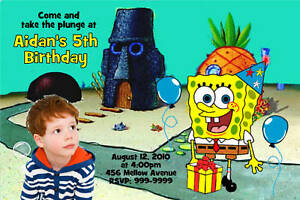 Personalized spongebob photo birthday invitation ebay image is loading personalized spongebob photo birthday invitation filmwisefo