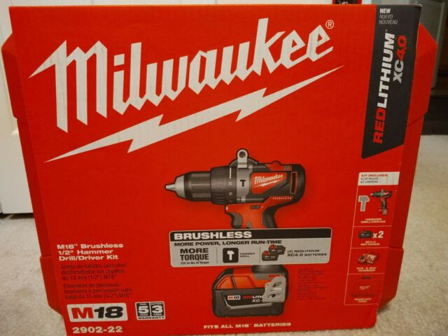 Milwaukee M18 2902-22 18-Volt 1//2-Inch Cordless Brushless Hammer Drill Kit