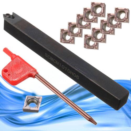 Lathe Turning Tools Holder SCMCN1010H06 10mm Shank AU 11Pcs CCMT060204 Inserts
