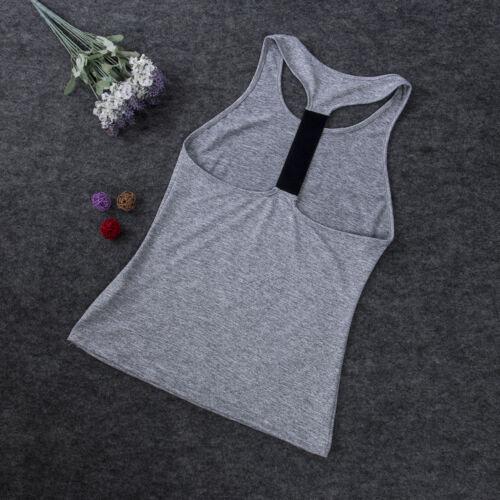 Women Vest Workout Tank Top T-shirt Sport Gym Clothes Fitness Yoga Tank Shirt US