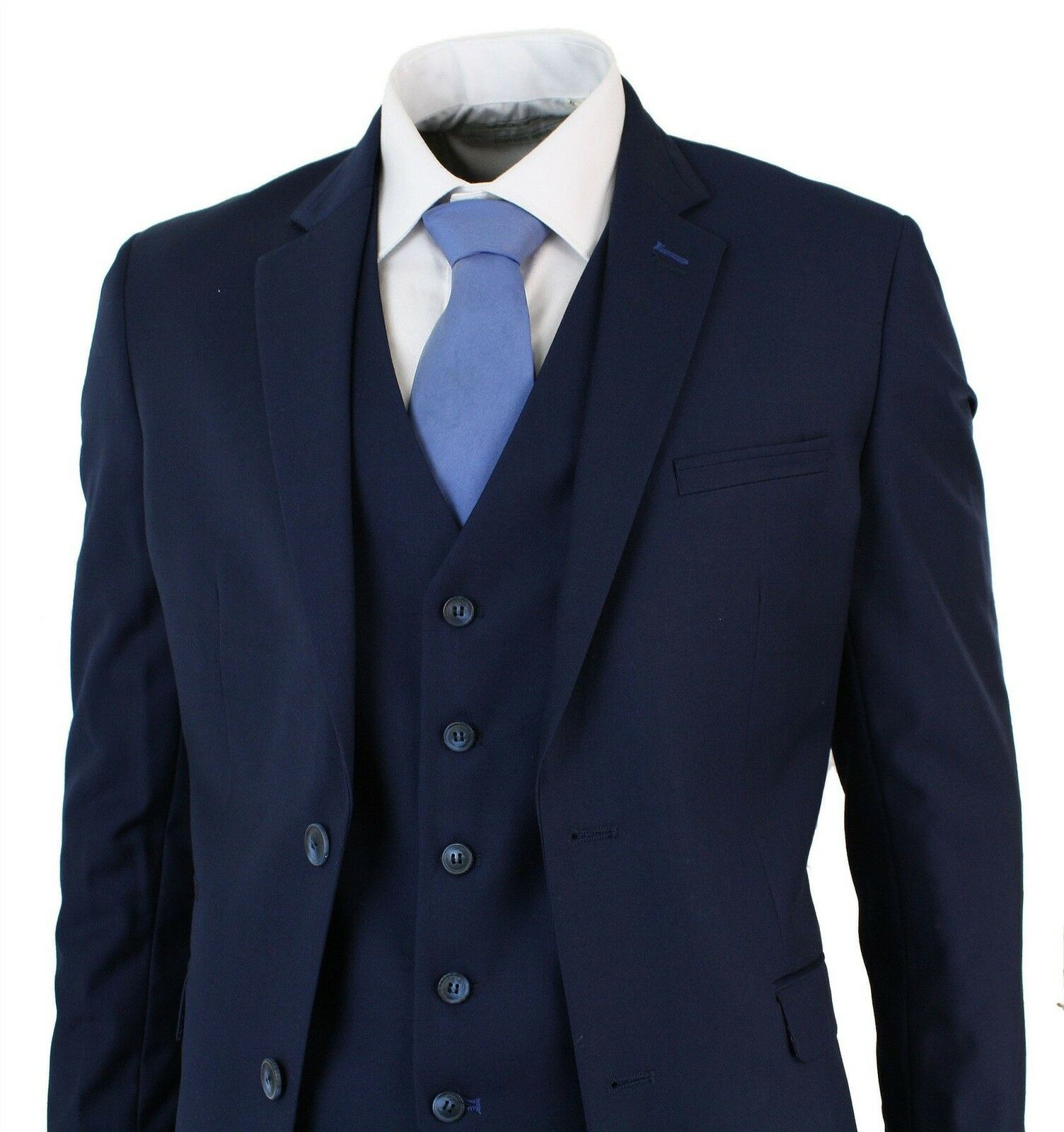 Herren Navy Blau 3 Piece TailoROT Fit Short Regular & Long Smart Formal Suit