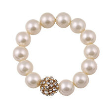 very pretty white pearl and crystal ball bracelet
