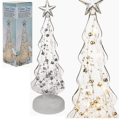 Christmas Tree Xmas Glass Led Light Up Ornament Decoration 30cm Gift