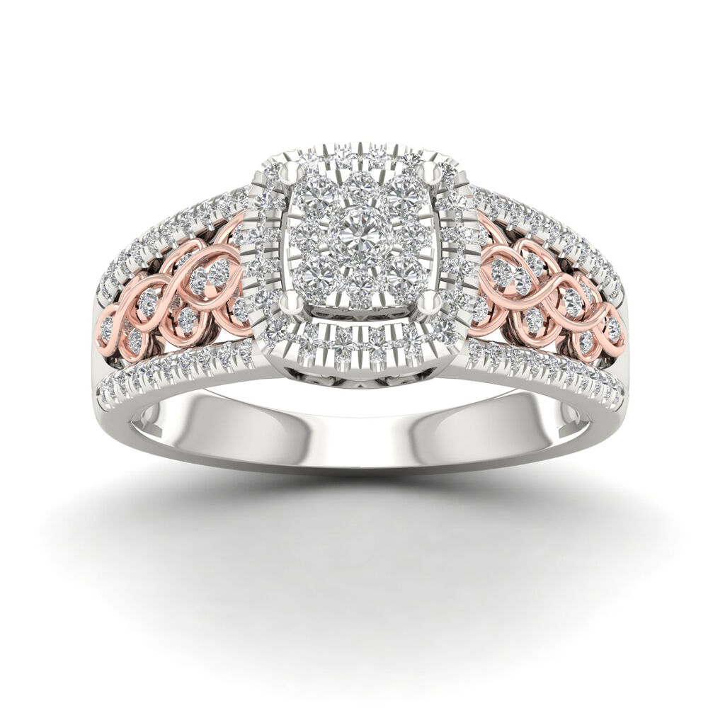 10k Pink Two Tone WG 0.50ct Round Diamond Cluster Engagement Ring
